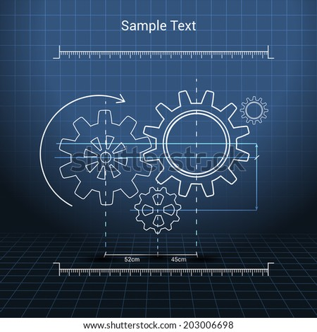 Drawn cogwheel gears mechanisms on squared background poster vector illustration - stock vector