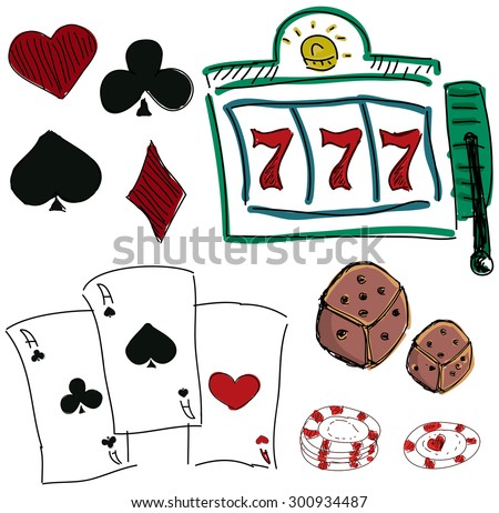 Drawn colorful icons of gambling games on white background. Vector illustration