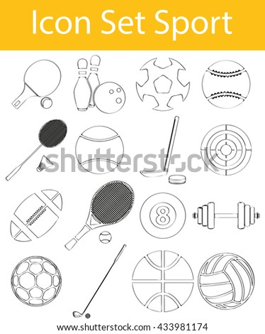 Drawn Doodle Lined Icon Set Sport with 16 icons for the creative use in graphic design - stock vector