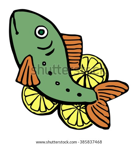 Drawn fresh fish with lemons, vector illustration, isolated on white - stock vector