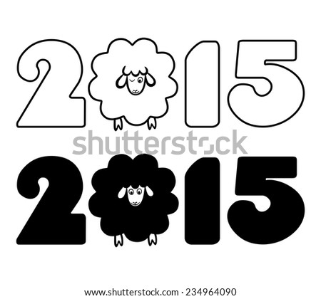 drawn funny lamb is the symbol of new year 2015 - stock vector