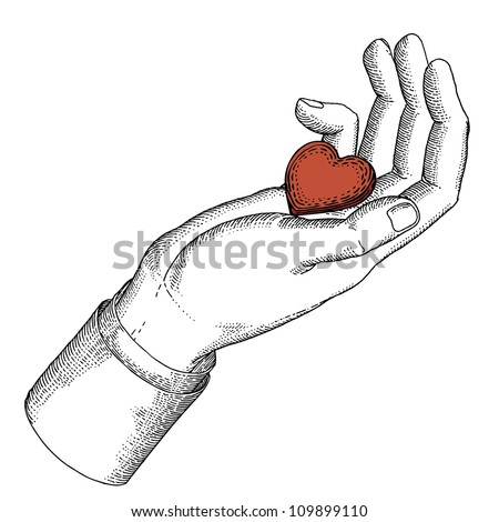 Drawn hand with heart - stock vector