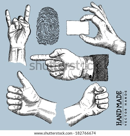 drawn Hands - Vector Hands Set - Vector illustration - stock vector