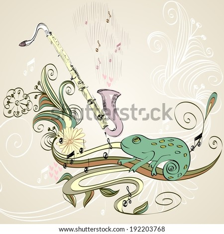 drawn illustration of a musical instrument clarinet. - stock vector
