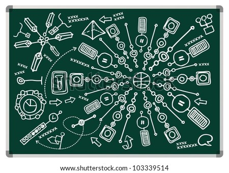 drawn infographics on the board - stock vector