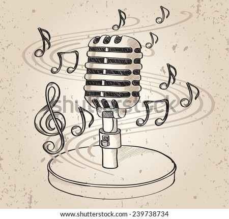 Drawn microphone & notes - stock vector