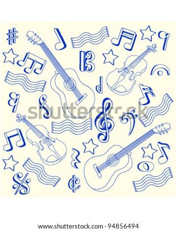 Drawn Music Notes Icon Set         vector eps10 - stock vector
