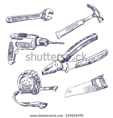 Drawn tools set - stock vector