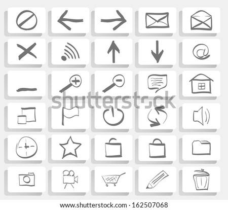 Drawn web Icon set. Easy To Edit Vector Image.  Content Management System Web Icons  - stock vector