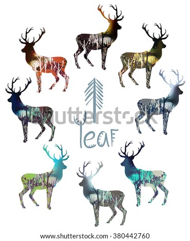Drawn wood in deer silhouette. Hand drawn vector illustration. Concept of winter, spring, summer and autumn landscapes. Deer set.
