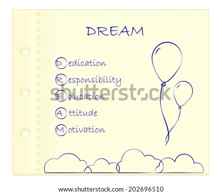 DREAM acronym on paper. Conceptual illustration. - stock vector