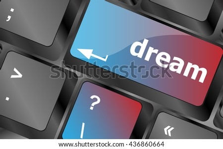 dream button showing concept of idea, creativity and success . keyboard keys. vector illustration - stock vector