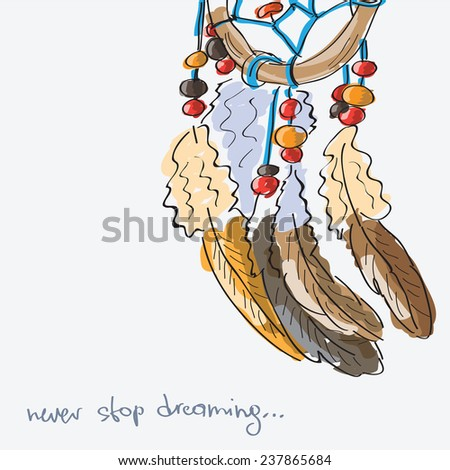 Dream  catcher hand drawn vector illustration - doodle style - stock vector