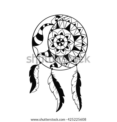 dream catcher symbol sun and moon ethnic indian element coloring book page for - Native American Coloring Book