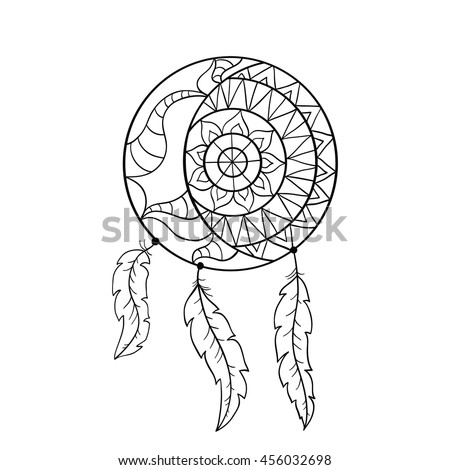 Dream Catcher Symbol Sun And Moon Ethnic Indian Element Coloring Book Page For