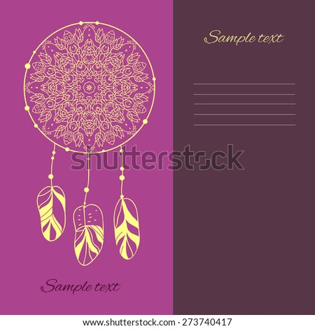Dream catcher. Vector illustration, mandala. Can be used for banner, cards, wedding invitations etc.