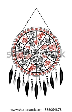 Dream Catcher with Aztec elements with feathers on a white background. Vector 