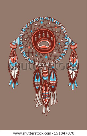 Dream catcher with bear trail. Vector postcard