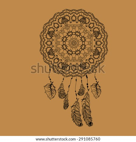 Dream catcher with feathers in zentangle style, high detailed ritual thing. American boho spirit. Hand drawn sketch vector illustration for tattoos or t-shirt print. Indian Dream catcher in a sketch - stock vector