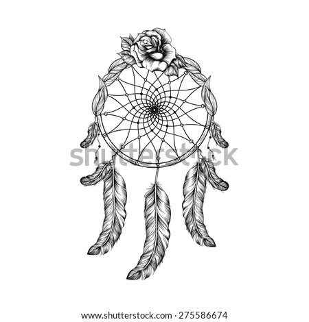 Dream catcher with feathers, leaves and rose  in line art style, high detailed ritual thing. American boho spirit. Hand drawn sketch vector illustration for tattoos or t-shirt print. - stock vector