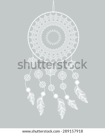Dream catcher with feathers on a gray background - stock vector