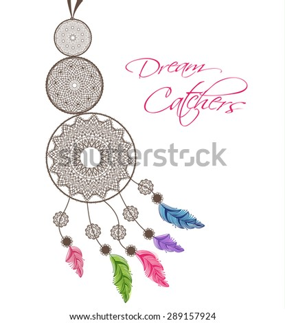 Dream catcher with feathers on a white background - stock vector
