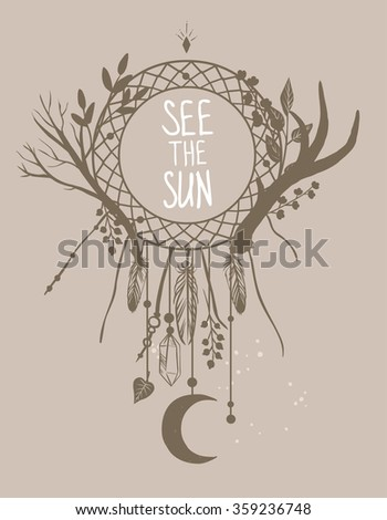 Dream catcher with magic amulets and moon. Vector hand drawn illustration for t-shirt, cover or more - stock vector