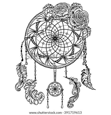 Dream Catcher Ornament Roses Tattoo Art Stock Vector