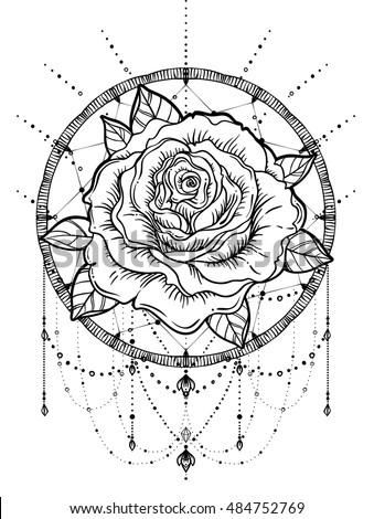 Dream Catcher Rose Flower Detailed Vector Stock Vector