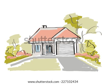 Dream house real estate property vector illustration - stock vector