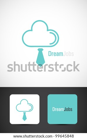 Dream jobs, conceptual icon such logo with business card templates - stock vector