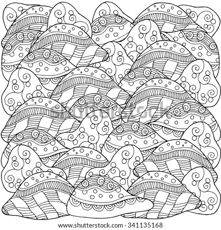 Dream scape. Artistically ethnic pattern.  - stock vector