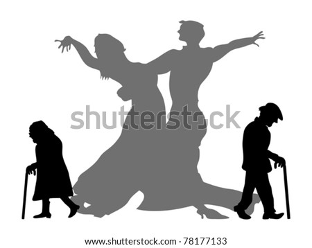 dream to be the dancing partner - stock vector
