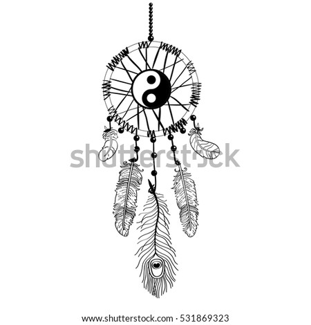 Dreamcarcher Decorated With Ying Yang Sign Illustration For Adult Coloring Book Vector Art