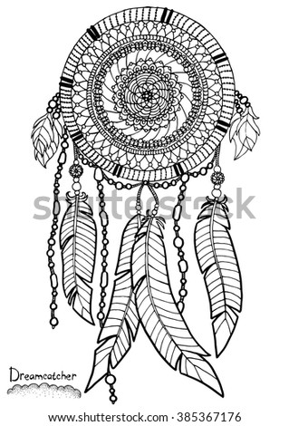 Dreamcatcher A4 Size Pattern For Adult Coloring Book Hand Drawn Design With Ethnic