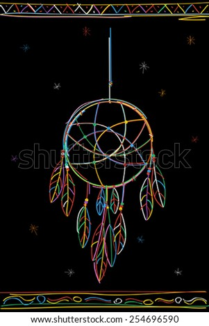 Dreamcatcher color sketch over white background