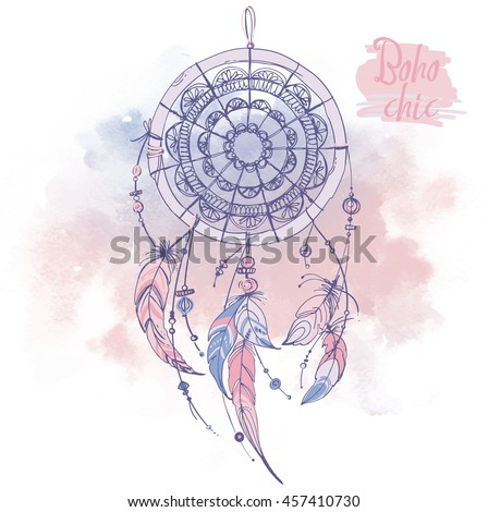 Dream Catchers Symbolism Dreamcatcher Feathers Beads Native American Indian Stock Vector 19
