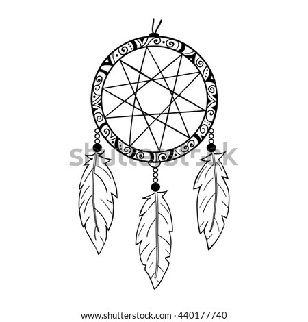 Highly detailed native american dream catcher stock vector for Dreamcatcher tattoo template