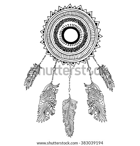 Dreamcatcher illustration with feathers in boho style  - stock vector