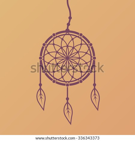Dreamcatcher vector design element isolated on gradient background, native american indian dream catcher