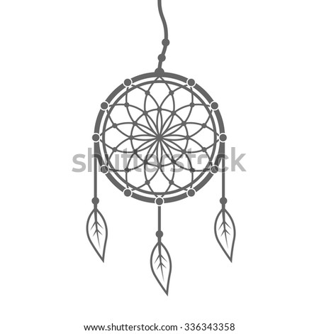 Dreamcatcher with feathers and beads vector design element isolated on white background