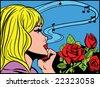 Dreaming pop art girl - stock photo