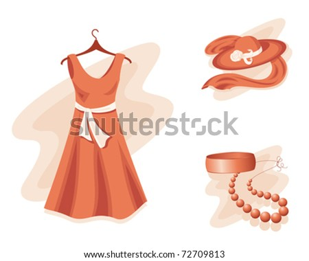 Dress, hat, shawl, bracelet and beads in orange color. - stock vector
