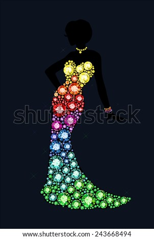 dress made of shiny gems - stock vector