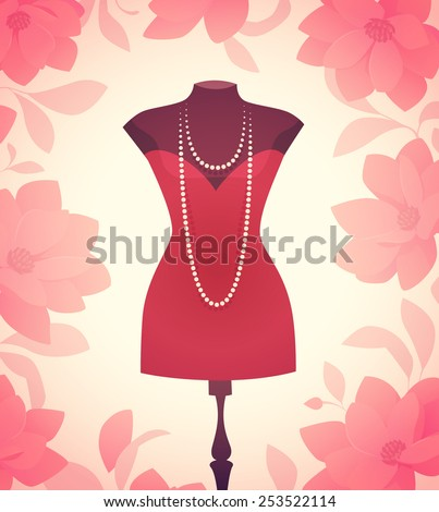Dress model. Vector illustration. - stock vector