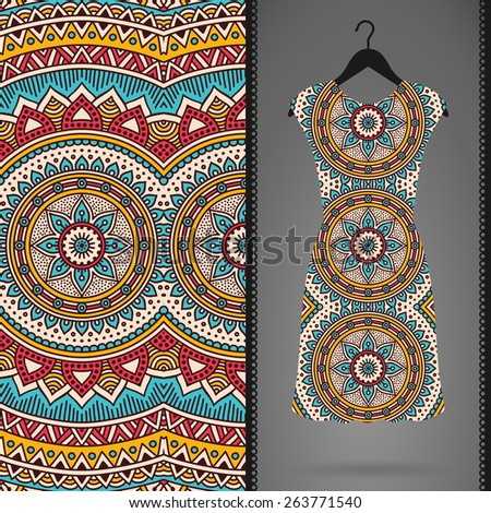 Dress with Seamless pattern. Vintage decorative elements. Hand drawn background. Islam, Arabic, Indian, ottoman motifs. Perfect for printing on fabric or paper. - stock vector