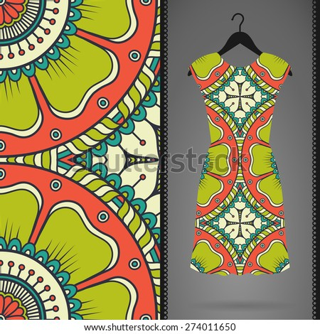 Dress with seamless pattern. Vintage decorative elements. Hand drawn background. Islam, Arabic, Indian, ottoman motifs. Perfect for printing on fabric or paper.