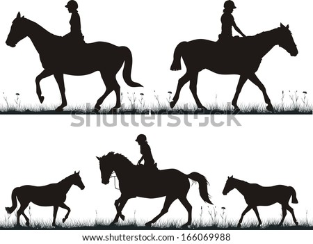 dressage on the grass - girl on horse - stock vector