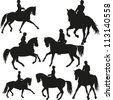 Dressage vector set - stock vector