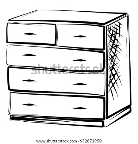 dresser clipart black and white. dresser, commode, drawer, drawers, locker bureau in the style of linear art dresser clipart black and white